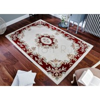 Royal Traditional Aubusson Wool Rug - Cream Red