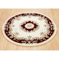 Royal Traditional Wool Rug - Cream Red-Circle 120 cm