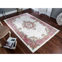 Royal Traditional Aubusson Wool Rug - Cream Rose