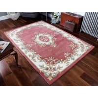 Royal Traditional Aubusson Wool Rug - Rose