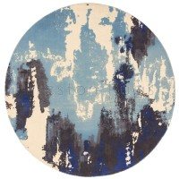 """Saturn Abstract Rug - Blue - Size Circle 200 cm (6'7"""")"""