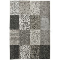 """New Vintage Black and White 8101 Rug by Louis de Poortere-140 x 200 cm (4'7"""" x 6'7"""")"""