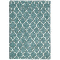 "Amore Luxury Pattern Shaggy Rug - Aqua Blue-119 x 180 cm (3'11"" x 6')"