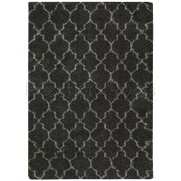 "Amore Luxury Pattern Shaggy Rug - Charcoal-239 x 330 cm (7'10"" x 10'10"")"