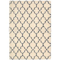 "Amore Luxury Pattern Shaggy Rug - Ivory Blue-119 x 180 cm (3'11"" x 6')"