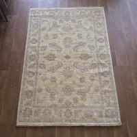 Afghan Ziegler Hand-knotted Traditional Wool Rug - Natural/Lavender 123 x 185 cm