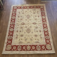 Afghan Ziegler Hand-knotted Traditional Wool Rug - Cream Red 142 x 200 cm