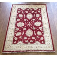 """Afghan Ziegler Hand-knotted Traditional Wool Rug - Red 130 x 176 cm (4'3"""" x 5'9"""")"""
