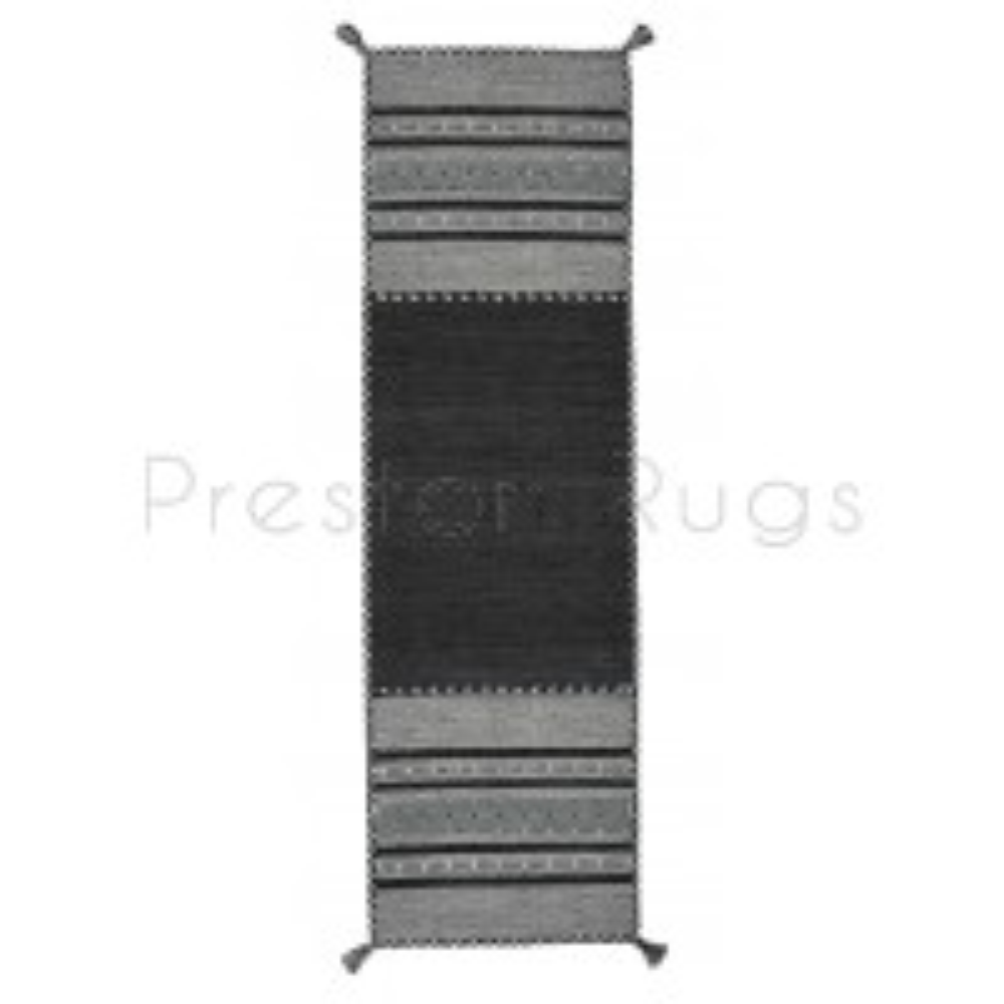 "Kelim Flat-weave Rug - Charcoal-Runner 67 x 220 cm (2'2"" x 7'3"")"