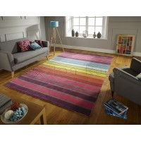 "Illusion Candy Stripe Multi Coloured Rug-200 x 290 cm (6'7"" x 9'6"")"