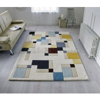 "Illusion Abstract Block Blue/Ochre Rug-160 x 230 cm (5'3"" x 7'7"")"