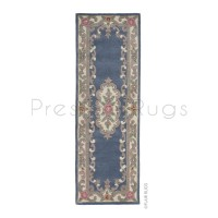 "Aubusson Panel Rug  - Blue-Runner 67 x 210 cm (2'2"" x 6'10"")"