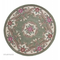 Aubusson Panel Rug  - Green-Circle 120 cm (4')