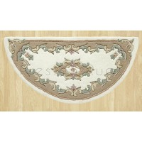 Royal Traditional Wool Rug - Cream Beige-Half Moon 67 x 137 cm