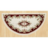 Royal Traditional Wool Rug - Cream Red-Half Moon 67 x 137 cm