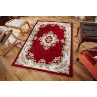 "Royal Traditional Aubusson Wool Rug - Red-200 x 285 cm (6'7"" x 9'4"")"